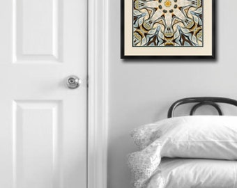 Mandala Art -Large Giclee Print in mustard yellow and blue, from Original oil painting, loft decor, large art work, mandala by Heidi Vaught