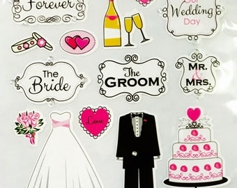 Here Comes The Bride Groom  Wedding Day Bridal Stickers - Planner - Scrapbooking- Papercrafting