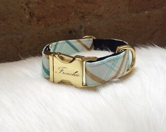 "Adjustable dog collar ""Plaid mint"""