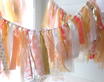 Tattered Fabric Garland Wedding Banner Photo Prop Backdrop Birthday Party Graduation Wall Decor Eclectic Party Tent & Wall Decor