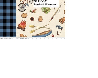 """Pillow Case Kit - On the Road Camping Fabric - Do It Yourself - Finishes 21""""x32"""""""