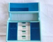 SALE - 1978 Blue Barbie Dream House Kitchen Hutch Cabinet