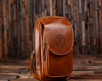 Set of 2 Personalized Leather Toiletry Bag, Dopp Kit, Leather Shaving Kit, Groomsmen, Father's Day Gift, Boy Friend Gift Travel Shaving Bag