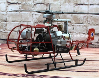 Miniature Retro Style  F-WGVD 1953 Model Helicopter Hand Made Metal Toy Plane Aircraft Home Decor Office Decor Gift