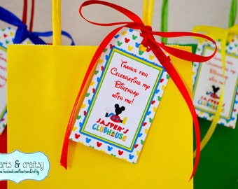 Mickey Mouse Clubhouse Party Favor Tags / Goodie Bag Tags  / Mickey Mouse Clubhouse Birthday Party - FILE to PRINT DIY