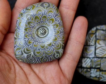 brooch made of polymer clay gray and yellow