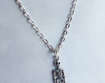 Skeleton Necklace - Halloween Silver tone charm