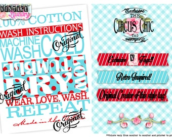 Circus Chic Care Instructions PNG JPG Download File Wash Instructions Tag Label