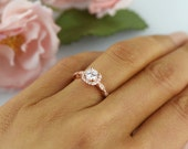 3/4 ctw Halo Wedding Ring, Vintage Style Ring, Man Made Diamond Simulants, Art Deco Ring, Engagement Ring, Sterling Silver, Rose Gold Plated