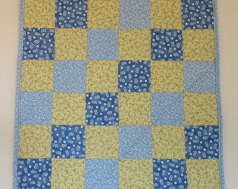 "Doll Quilt, 18"" x 18"", Mini Quilt, Blue, Yellow, Tiny Flowers, Four-patch Quilt"