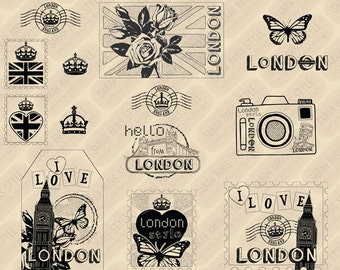 I Love London digi stamps, royalty free, small commercial use ok. Instant download.