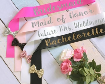 Bridal Party Sashes. Bride Sash. Bachelorette Sash. Wedding Sash. Custom Sash. Glitter Sash. Bow Sash. Bridesmaid Sash. Maid of Honor Sash
