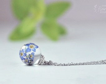 Real Forgetmenot Necklace - blue Forget me not flowers in Globe- Real plant ball pendant Resin- gift for her