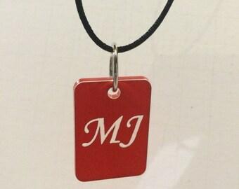 Cursive Letter Engraved Acrylic Necklace Pendant
