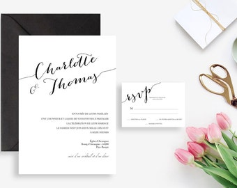 Printable Wedding invitation with rsvp card - Wedding invitation - Calligraphy Minimal wedding, black and white, chic, elegant Wedding DIY