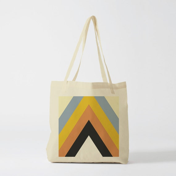 Yellow Retro Triangles Tote bag. Canvas bag, sports bag, yoga bag, groceries bag, school bag, novelty gift, gift for coworker, gift mermaid.