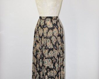 90s floral rayon maxi skirt / dark floral print skirt / 1990s sheer long skirt