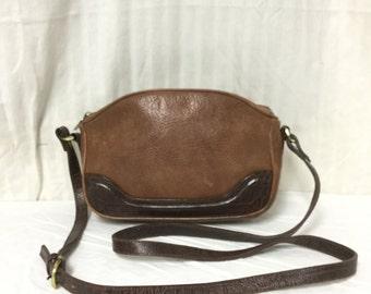 Free Ship All Leather Shoulder Bag Liz Claiborne Purse Brown