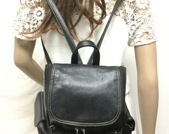 Free Ship Black Leather Backpack