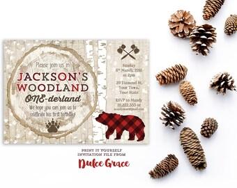 1st birthday invitations, boy 1st birthday invitation, lumberjack party invites, woodland one-derland, onederland birthday, bear 1st bday