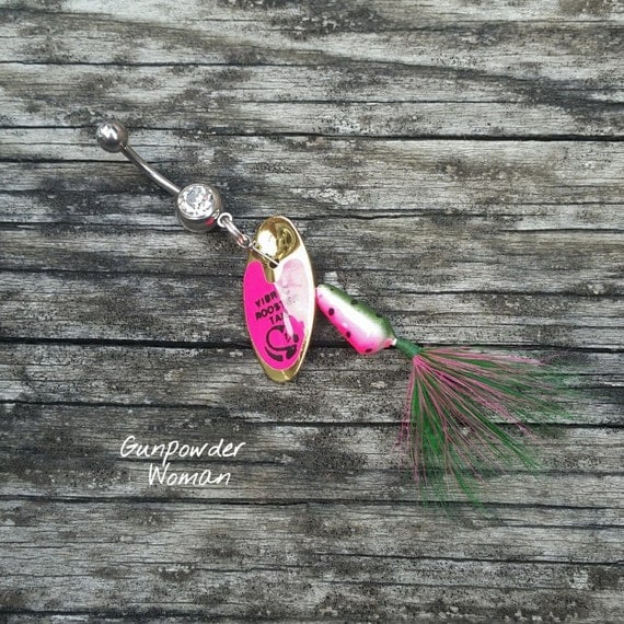 Watermelon rooster tail fishing lure navel belly button ring for Rooster tail fishing lure