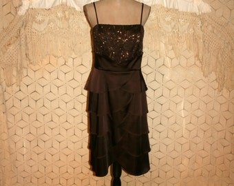 Fall Prom Dress Brown Satin Short Formal Plus Size 16 XL Beaded Tiered Spaghetti Strap Dress Brown Formal Bridesmaid Dress Womans Clothing