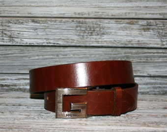 Vintage Womens Brown Leather Belt GUESS Belt Medium Womens Belts G Buckle Made in the USA Genuine Leather Brown Belt Vintage Accessories