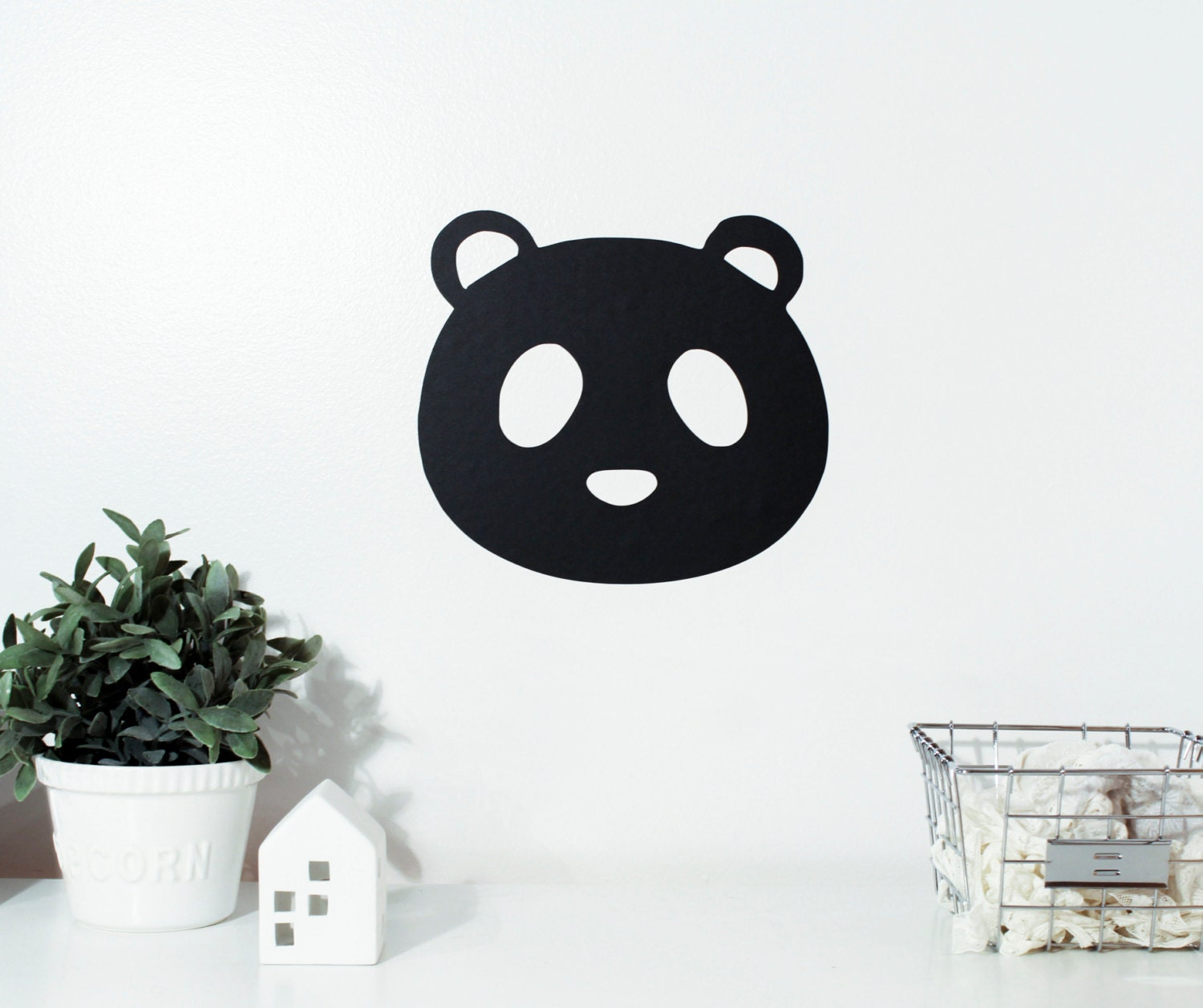 adh sif ardoise panda mural repositionnable vinyle noir et. Black Bedroom Furniture Sets. Home Design Ideas