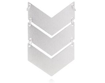 Triple Chevron Pendant, 1 Pc, Silver Chevron Pendant, Arrow Geometric Pendant, Silver Laser Cut Pendnat, Silver Plated Charm, GoldieSupplies