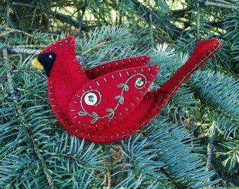 Wool Felt Cardinal Ornament/ Northern Cardinal/ Red Bird/ Wool Felt Bird Ornament
