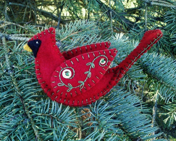 Wool Felt Cardinal Ornament Northern Cardinal Red Bird Wool