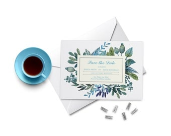 Watercolor Leaves Save the Date. Watercolour Wedding Invitation.