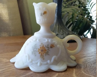 Fenton Custard Glass Hand Painted Signed Candlestick