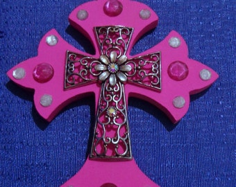Wooden Cross Magnet,Handmade Wood Cross,Pink Wood Cross,Refrigerator Magnet,Wood Cross Decoration,Handpainted Cross