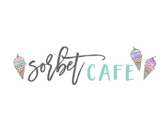 Watercolor Business Logo, watercolor design, bakery, watermark, painted, ice cream, cute, sorbet, Newborn, ice cream parlor, sweets