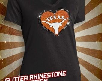 Texas Longhorns Rhinestone Glitter Bling T-shirt - Ladies Vneck