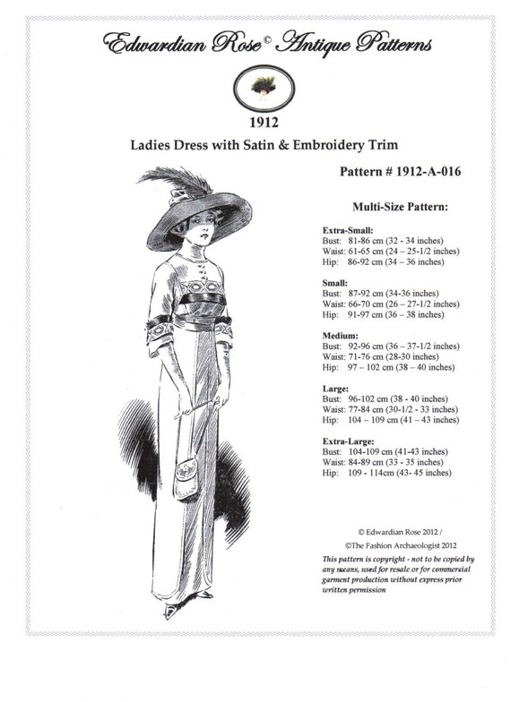 Digital Sewing Pattern~Ladies 1912 Edwardian Titanic era Dress in 5 Sizes ~XS to XL (in PDF to print at home) Pattern #1912-A-016 $18.00 AT vintagedancer.com