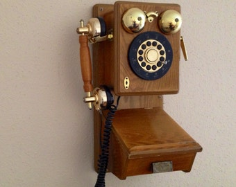 Vintage Telephone Rare Vintage Wood and Metal Telephone. Retro phone gadget
