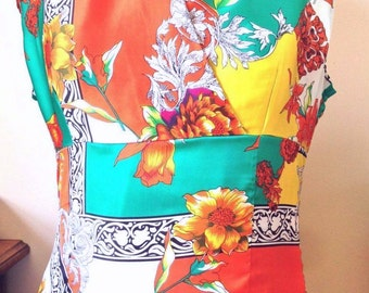 Silk Blouse, Crossover Blouse, US size 12, Fuller Bust, Evening Blouse, Crepe de Chine, one of a kind.