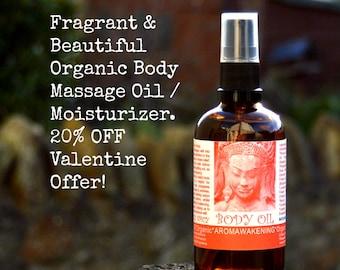 20% Off Valentines Offer Organic Body Massage Oil  / Moisturizer Nourishing Fragrant Sensuous skin!