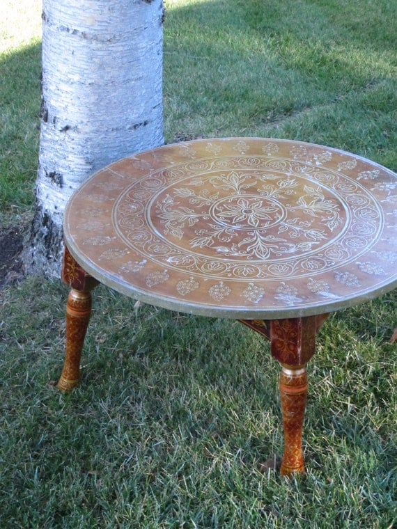 boho coffee table free ship hand painted wooden round table