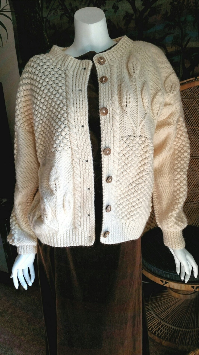 Irish Cable Knit Sweater Patterns : Vintage Irish Wool Cable Knit Sweater with Leaves Millar Made