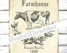 Farm Cow Farmhouse Farmers Downloads Transfer digital collage sheet graphic printable No. 791
