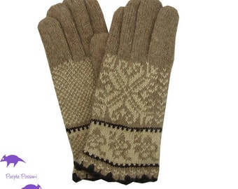 Brown Gloves, Ladies Beige Fairisle Style Knitted Winter Gloves