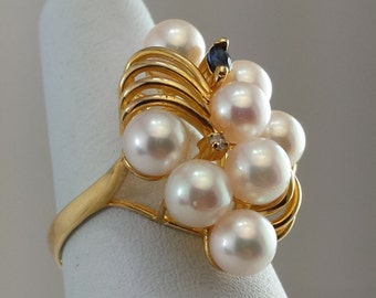 14k yellow gold cultured pearl,sapphire ,diamond ring