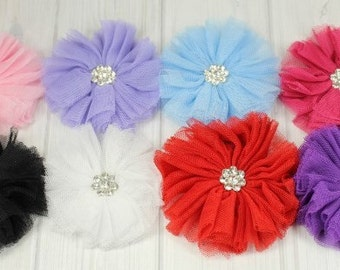 Tutu Mesh Flower with Multi-Rhinestone Sparkly Center