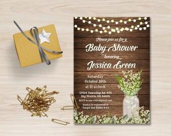 Rustic Baby Shower Invitation Printable, Babys Breath Baby Shower Invitation, Mason Jar Baby Shower Invitation, Rustic Birthday Invitation