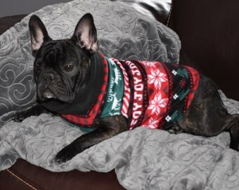 French Bulldog Style Pullover -Christmas Nordic Sweater  - Photo Prop -  Pullover - Winter - Fleece - Hoodie
