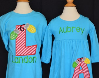 Christmas Lights with Initial Applique Shirt or Onesie Boy or Girl Choose your color!