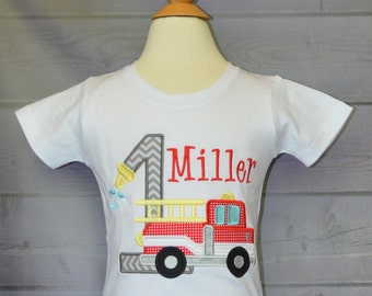 Personalized Birthday Firetruck with Hose Applique Shirt or Onesie Girl or Boy